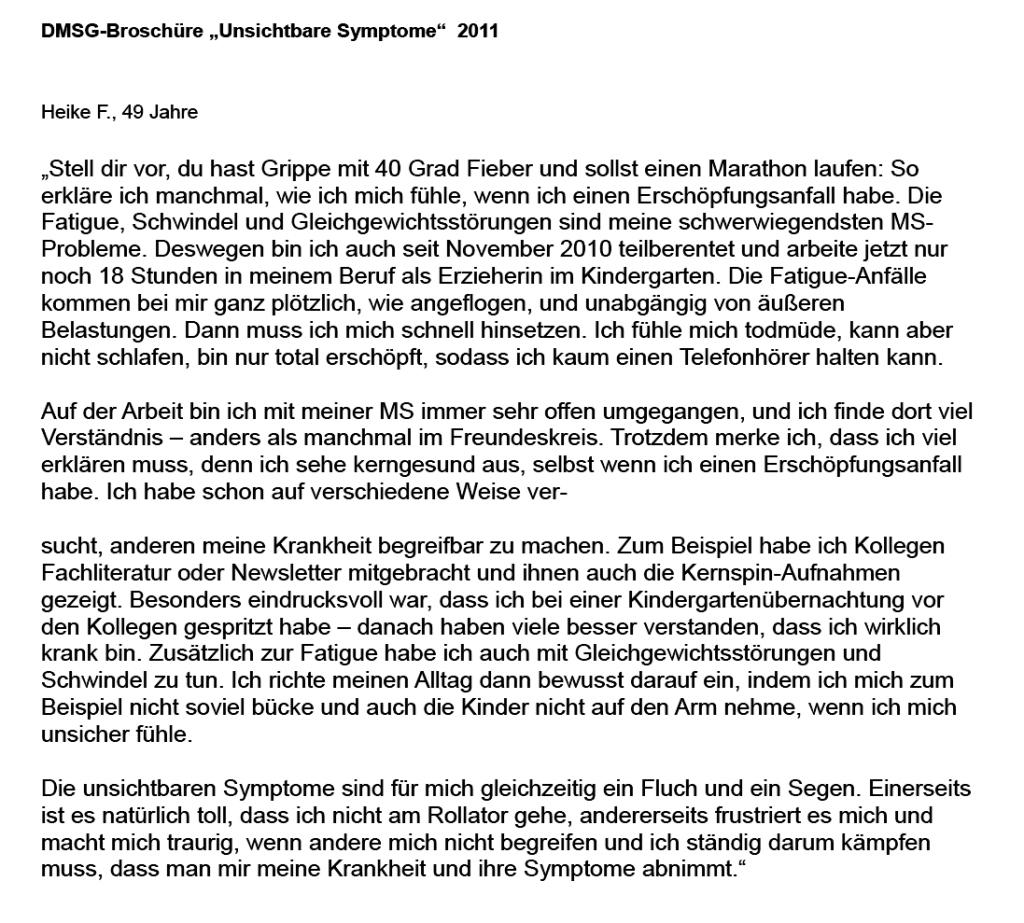"DMSG-Broschüre ""Unsichtbare Symptome"" 2011"