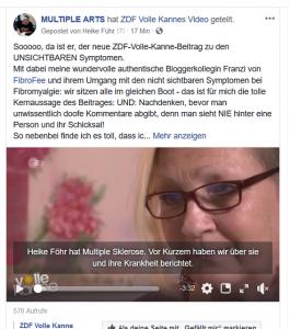 VK 1 265x300 - Hier ist er: der neue ZDF-Volle-Kanne-Beitrag zu den UNSICHTBAREN Symptomen mit einem Interview von mir